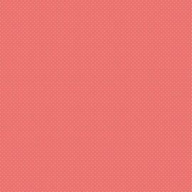 Tissu coton Enduit motifs Pois blanc fond Corail -  Oeko tex