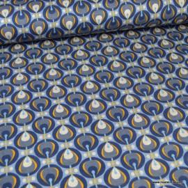 Tissu Jersey milano motifs vintage fond bleu - oeko tex