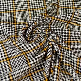 Tissu Prince de Galles stretch jaune, blanc et noir