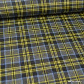 Tissu maille Prince de Galles stretch jaune, noir et bleu