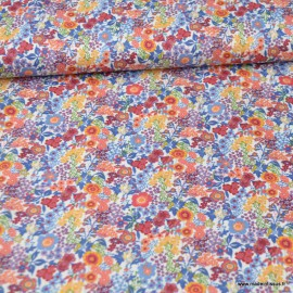 Tissu style Liberty Loéline ocre et bleu - Oeko tex