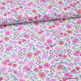 Tissu style Liberty Eléanor Fuchsia et rose - Oeko tex