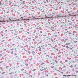 Tissu style Liberty Imélia fuchsia et Prune - Oeko tex