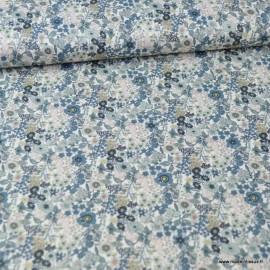 Tissu style Liberty Loéline Gris et bleu - Oeko tex