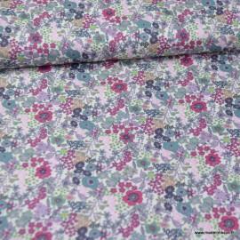 Tissu style Liberty Loéline Rose et Prune - Oeko tex