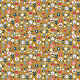 Tissu popeline motifs fleurs rose et jaune fond Moutarde - Oeko tex
