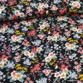 Tissu crêpe viscose fluide imprimé fleurs fond Noir