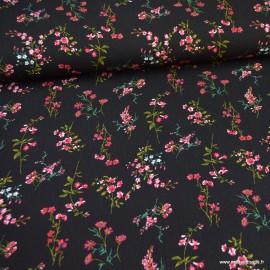 Tissu crêpe viscose fluide imprimé fleurs roses fond Noir