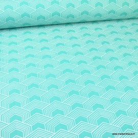 Tissu oeko tex coton Orto motif graphique Emeraude