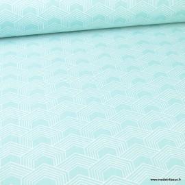 Tissu oeko tex coton Orto motif graphique Menthe