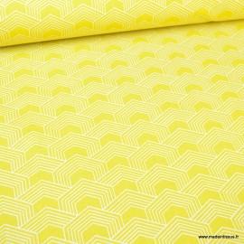 Tissu oeko tex coton Orto motif graphique Citron