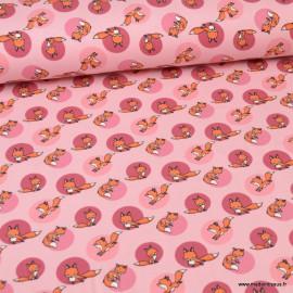 Tissu jersey motifs renards fond rose - Oeko tex