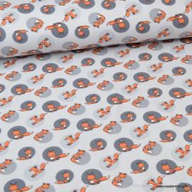 Tissu jersey motifs renards fond gris - Oeko tex