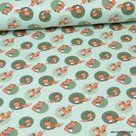 Tissu jersey motifs renards fond menthe - Oeko tex