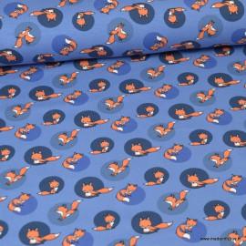 Tissu jersey motifs renards fond bleu indigo - Oeko tex