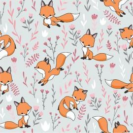 Tissu jersey motifs renards et fleurs fond gris - Oeko tex