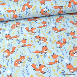 Tissu jersey motifs renards et fleurs fond ciel - Oeko tex