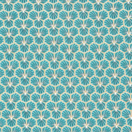 Tissu coton imprimé Riad Canard - Oeko tex