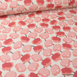 Tissu toile aspect lin motifs fleurs type coquelicot roses - Oeko tex