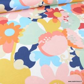 Tissu toile aspect lin motifs grosses fleurs roses, jaunes et bleues - Oeko tex