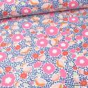 Tissu toile natté motifs fleurs rose et marine - Oeko tex