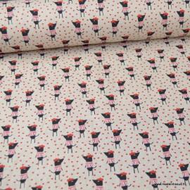Tissu toile aspect lin motifs Souris à béret - Oeko tex