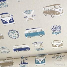 Tissu toile aspect lin motifs Vans et combis Volkswagen - Oeko tex