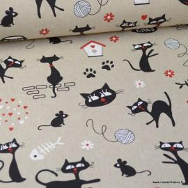 Tissu toile aspect lin motifs Chats et pelotes de laine - Oeko tex