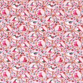 Tissu jersey motifs oiseaux et fleurs fond rose - Oeko tex