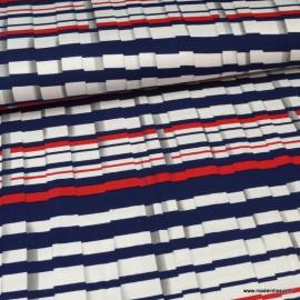 Tissu jersey de Viscose à rayures marine et rouge