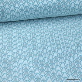 Tissu coton imprimé éventails écailles Japonaises Canard - Oeko tex