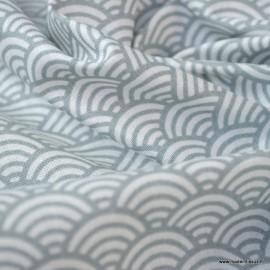Tissu coton imprimé éventails écailles Japonaises Gris clair - Oeko tex