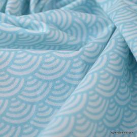 Tissu coton imprimé éventails écailles Japonaises Bleu ciel - Oeko tex