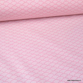 Tissu coton imprimé éventails écailles Japonaises Rose - Oeko tex