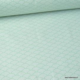 Tissu coton imprimé éventails écailles Japonaises Vert menthe - Oeko tex