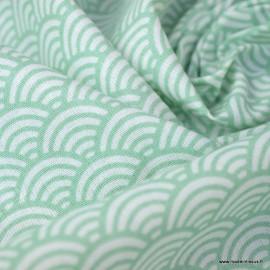 Tissu coton imprimé éventails écailles Japonaises Vert - Oeko tex