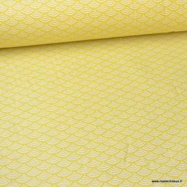 Tissu coton imprimé éventails écailles Japonaises Jaune Absinthe - Oeko tex