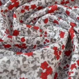 Tissu coton motifs fleurs Léonie beige et rouge - Oeko tex