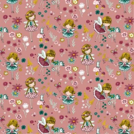 Tissu popeline Magic Garden motifs fées et fleurs fond Blush - Oeko tex