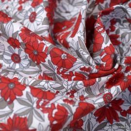 Tissu coton motifs fleurs Apolline beige et rouge - Oeko tex