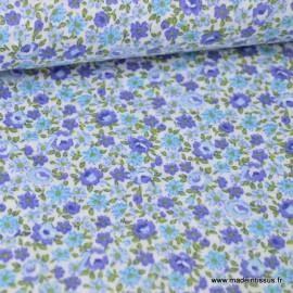 Tissu Popeline coton imprimé fleurs bleues