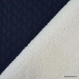 Tissu Jersey Torsadé envers doudou coloris Marine
