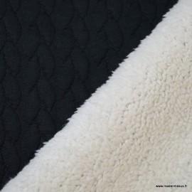 Tissu Jersey Torsadé envers doudou coloris Noir