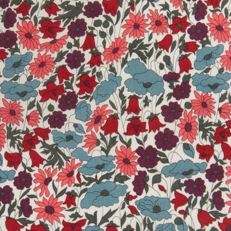 Tissu Liberty Poppy and Daisy Prune et bleu