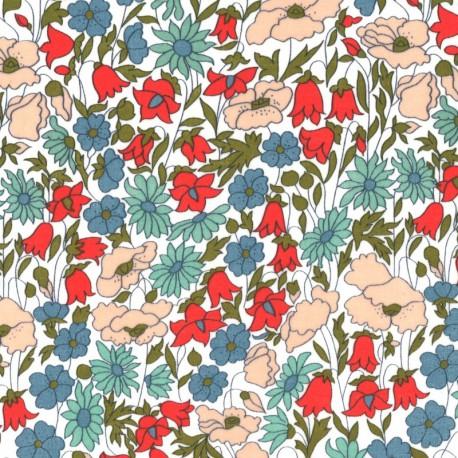Tissu Liberty Poppy and Daisy Bleu, vert et rose