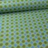 Tissu coton motifs ronds wax fond bleu - oeko tex