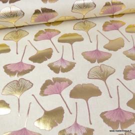 Tissu toile aspect lin motifs Gingko Biloba rose et or Foil