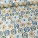 Tissu toile aspect lin motifs plumes de Paon canard et or Foil