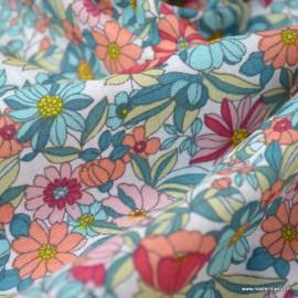 Tissu coton motifs fleurs Apolline Corail et bleu - Oeko tex