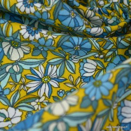 Tissu coton motifs fleurs Apolline Curry et bleu - Oeko tex